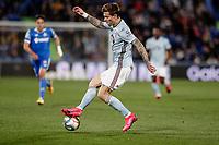 7th March 2020; Coliseum Alfonso Perez, Madrid, Spain; La Liga Football, Club Getafe Club de Futbol versus Celta Vigo; Fedor Smolov (Celta de Vigo) traps the difficult ball