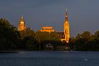 September 9, 2018; Campus skyline illuminated by the sunset (Photo by Matt Cashore/University of Notre Dame)
