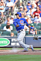 Chicago Cubs shortstop Addison Russell (27) swings at a pitch during a game against the Atlanta Braves at Turner Field on June 11, 2016 in Atlanta, Georgia. The Cubs defeated the Braves 8-2. (Tony Farlow/Four Seam Images)
