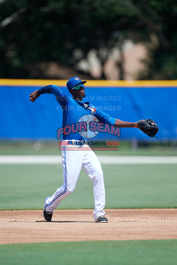 GCL Blue Jays shortstop Luis De Los Santos (1) throws to first base during a game against the GCL Pirates on July 20, 2017 at Bobby Mattick Training Center at Englebert Complex in Dunedin, Florida.  GCL Pirates defeated the GCL Blue Jays 11-6 in eleven innings.  (Mike Janes/Four Seam Images)