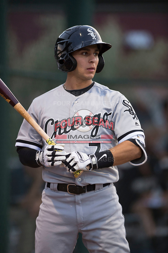 AZL White Sox first round draft pick and designated hitter Nick Madrigal (7) on deck during an Arizona League game against the AZL Cubs 2 at Sloan Park on July 13, 2018 in Mesa, Arizona. The AZL Cubs 2 defeated the AZL White Sox 6-4. (Zachary Lucy/Four Seam Images)