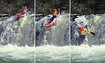 An exciting example of projectile motion, a kayaker on a waterfall. The photographs were 1/3 of a second apart.