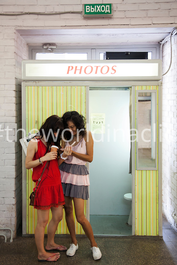RUSSIA, Moscow. A photo booth at Winzavod, Center for Contemporary Art.