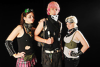 From left, Eva Sturgeon, 18, Kyle Olson, 17, and Eva Cole, 18, pose for a portrait during ZomBcon, a zombie-themed convention,  at the Seattle Center Exhibition Hall on Saturday, October 30, 2010. photos by Danny Gawlowski / The Seattle Times