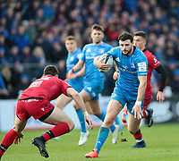 12th January 2020; RDS Arena, Dublin, Leinster, Ireland; Heineken Champions Champions Cup Rugby, Leinster versus Lyon Olympique Universitaire; Robbie Henshaw (Leinster) attempts to step outside Xavier Mignot (Lyon)  - Editorial Use