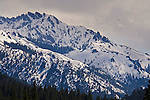 Rugged snow-covered mountain in peak in winter in the Sierra Nevada near Markleeville, Alpine County, California