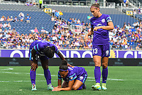 Orlando, FL - Sunday June 26, 2016: Jasmyne Spencer, Kristen Edmonds, Alex Morgan  during a regular season National Women's Soccer League (NWSL) match between the Orlando Pride and the Portland Thorns FC at Camping World Stadium.