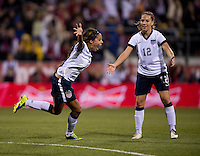 Sydney Leroux (2) of the USWNT celebrates her goal during an international friendly at Crew Stadium in Columbus, OH. The USWNT tiedNew Zealand, 1-1.