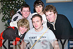 ON CUE: Fans who went to Ballyroe Heights Hotel, Tralee, on Thursday night to see Ken Doherty and Ronnie O'Sullivan give an exhibition in Snooker. They were Ian Donegan, James Leahy, Dan O'Connor, Colin Hanlon and Pa Browne (Causeway)..