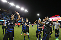 San Jose, CA - Saturday August 05, 2017: Andres Imperiale, Chris Wondolowski after a Major League Soccer (MLS) match between the San Jose Earthquakes and the Columbus Crew at Avaya Stadium.