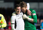 Ross County v St Johnstone…..30.04.16  Global Energy Stadium, Dingwall<br />Joe Shaughnessy and Zander Clark celebrates at full time<br />Picture by Graeme Hart.<br />Copyright Perthshire Picture Agency<br />Tel: 01738 623350  Mobile: 07990 594431