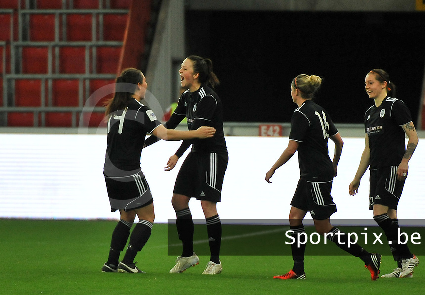 20131009 - LIEGE , BELGIUM : Glasgow pictured celebrating their goal during the female soccer match between STANDARD Femina de Liege and  GLASGOW City LFC , in the 1/16 final ( round of 32 ) first leg in the UEFA Women's Champions League 2013 in stade maurice dufrasne - Sclessin in Liege. Wednesday 9 October 2013. PHOTO DAVID CATRY