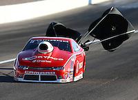 Mar 28, 2014; Las Vegas, NV, USA; NHRA pro stock driver Shane Gray during qualifying for the Summitracing.com Nationals at The Strip at Las Vegas Motor Speedway. Mandatory Credit: Mark J. Rebilas-