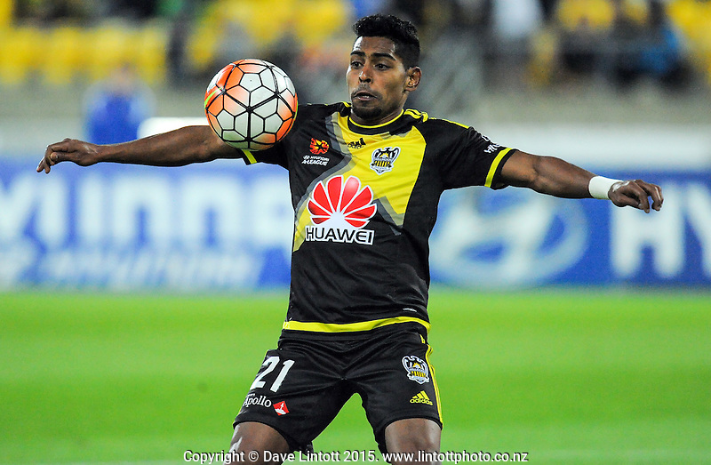 Roy Krishna controls the ball during the A-League football match between Wellington Phoenix and Adelaide United at Westpac Stadium, Wellington, New Zealand on Friday, 13 November 2015. Photo: Dave Lintott / lintottphoto.co.nz