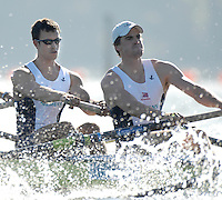 Caversham, Reading, GBR M8+, left,Tom LUCY and Hugo LEE, GB Rowing Team Training at Redgrave Pinsent Lake, Engand [Credit Peter Spurrier/Intersport Images]  [Mandatory Credit, Peter Spurier/ Intersport Images]. , Rowing course: GB Rowing Training Complex, Redgrave Pinsent Lake, Caversham, Reading