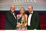 16-6-2019:  Clodagh Forde- Deloris Van Cartier- Sister Act- Bray Musical Society, Wicklow winner of the Best Actress award at the annual AIMS (Association of Irish Musical Societies) in the INEC Killarney at the weekend receiving the trophy from Seamus Power, President, AIMS left and Rob Donnelly, Vice-President.<br /> Photo: Don MacMonagle - macmonagle.com<br /> <br /> repro free photo from AIMS<br /> <br /> AIMS PRESS RELEASE: There was plenty of glitz and glamour in Killarney on Saturday night as The Association of Irish Musical Societies has its Annual Awards Ceremony in Killarney. Over 1,500 people could be heard over the Kerry mountains as the winners were announced by MC Fergal D'Arcy. Many societies were double winners on the night including UCD Musical Society, Dublin were dancing all the way to the trophies winning Best Choreography and Best Choreographer for Leah Meagher for Cabaret and  Tullamore Musical Society who took their moment as Chris Corroon won Best Male Singer for his sinful performance as Henry Jekyll in Jekyll &Hyde and also Director Paul Norton who'd plenty to celebrate picking Best Director for  the same show. The moment was once again taken by Jekyll&Hyde by Dùn Laoighaire Musical&Dramatic Society as Kevin Hartnett took up Best Male Singer in the Sullivan category.Nenagh Youth Musical Society raised their voices high and took home Best Ensemble. It was a superior night for Enniscorthy Musical Society by winning Best Comedienne for Jennifer Byrne as Mother Superior and Best Technical too. Portlaoise Musical Society rose to the top by taking home Best Overall Show in the Gilbert section for their stunning production of Titanic. Oyster Lane Theatre Group, Wexford flew their flag high taking home Best Overall Show in the Sullivan Section for their breathtaking production of Michael Collins-a Musical Drama.<br /> Other winners on the night included Best Comedian for Ronan Walsh as Officer Lockstock in Urinetown for Trim Musical Society, Best Actress in a Supporting Role for