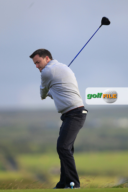 Pat Fitzpatrick (Kanturk) on the 2nd tee during Round 2 of the South of Ireland Amateur Open Championship at LaHinch Golf Club on Thursday 23rd July 2015.<br /> Picture:  Golffile | Thos Caffrey