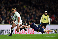 Henry Slade of England is tackled by Sean Maitland of Scotland. Guinness Six Nations match between England and Scotland on March 16, 2019 at Twickenham Stadium in London, England. Photo by: Patrick Khachfe / Onside Images