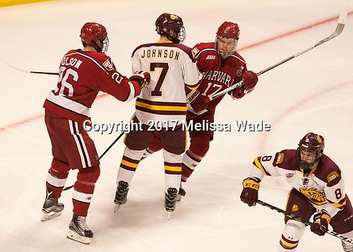Jacob Olson (Harvard - 26), Adam Johnson (UMD - 7), Sean Malone (Harvard - 17), Kyle Osterberg (UMD - 8) - The University of Minnesota Duluth Bulldogs defeated the Harvard University Crimson 2-1 in their Frozen Four semi-final on April 6, 2017, at the United Center in Chicago, Illinois.