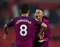 Manchester City's Gabriel Jesus celebrates with team mate Ilkay Gundogan <br /> <br /> Photographer Craig Mercer/CameraSport<br /> <br /> The Premier League - Tottenham Hotspur v Manchester City - Saturday 14th April 2018 - Wembley Stadium - London<br /> <br /> World Copyright &copy; 2018 CameraSport. All rights reserved. 43 Linden Ave. Countesthorpe. Leicester. England. LE8 5PG - Tel: +44 (0) 116 277 4147 - admin@camerasport.com - www.camerasport.com