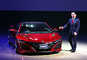 "August 25, 2016, Tokyo, Japan - Japanese automobile giant Honda Motor president Takahiro Hachigo introduces the company's sports car ""NSX"", fully redesigned for the first time in 26 years in Tokyo on Thursday, August 25, 2016. The NSX, which has 3.5-litter turbo charged engine with three motors hybrid system, will go on sale here next February.    (Photo by Yoshio Tsunoda/AFLO) LWX -ytd-"