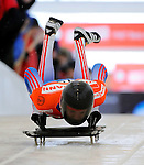 14 December 2007: Alexander Tretyakov, racing for Russia, starts his first run at the FIBT World Cup Skeleton Competition at the Olympic Sports Complex on Mount Van Hovenberg, at Lake Placid, New York, USA. ..Mandatory Photo Credit: Ed Wolfstein Photo