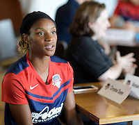 Houston, TX - Thursday Oct. 06, 2016: Crystal Dunn during media day prior to the National Women's Soccer League (NWSL) Championship match between the Washington Spirit and the Western New York Flash at BBVA Compass Stadium.