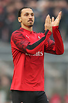 Zlatan Ibrahimovic of AC Milan applauds the fans during the Serie A match at Giuseppe Meazza, Milan. Picture date: 6th January 2020. Picture credit should read: Jonathan Moscrop/Sportimage