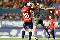 Juan Villar (forward; CA Osasuna) and Martínez (defender; Granada CF) during the Spanish football of La Liga 123, match between CA Osasuna and  Granada CF at the Sadar stadium, in Pamplona (Navarra), Spain, on Sunday, February 3, 2019.