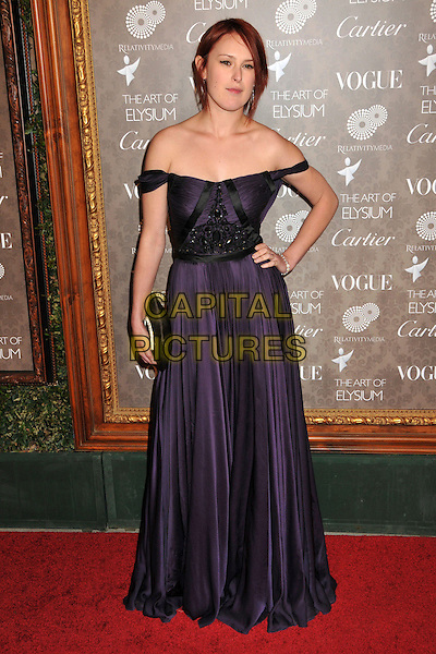 RUMOR WILLIS .2nd Annual Art of Elysium Heaven Gala at Vibiana, Los Angeles, CA, USA, .10 January 2009..full length purple off the shoulder dress black beaded hand on hip clutch bag .CAP/ADM/BP.©Byron Purvis/Admedia/Capital PIctures