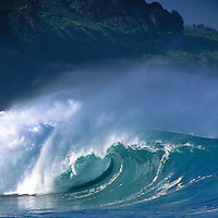 Perfect unridden wave somewhere on the north shore of Oahu with mountain in the background.