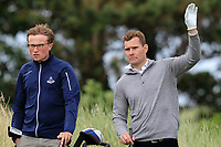 James Fox (Portmarnock) and his caddy on the 17th tee during Round 2 of The East of Ireland Amateur Open Championship in Co. Louth Golf Club, Baltray on Sunday 2nd June 2019.<br /> <br /> Picture:  Thos Caffrey / www.golffile.ie<br /> <br /> All photos usage must carry mandatory copyright credit (© Golffile | Thos Caffrey)