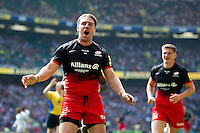 Chris Wyles of Saracens celebrates his first half try. Aviva Premiership Final, between Saracens and Exeter Chiefs on May 28, 2016 at Twickenham Stadium in London, England. Photo by: Patrick Khachfe / JMP