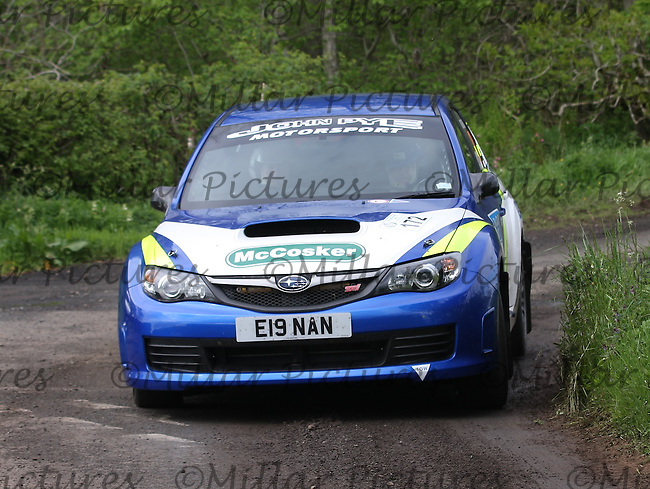 Eunan McCosker - Ronnie Roughead at junction 6 on Special Stage 8 Swinton 1 on the Jim Clark Rally 2013, which was organised by Border Ecosse Motor Club and Berwick & District Car Club and based at Kelso Racecourse on 31.5.13 and 1.6.13.