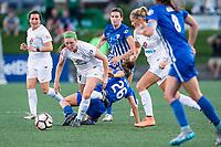 Boston, MA - Friday August 04, 2017: Maegan Kelly and Angela Salem during a regular season National Women's Soccer League (NWSL) match between the Boston Breakers and FC Kansas City at Jordan Field.