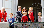 16-04-2014 Balcony 74th birthday of the Danish Queen at Marselisborg Castle in Aarhus.<br /> Queen Margrethe <br /> Prince Frederik and Princess Mary and Prince Christian and Princess Isabella and Prince Vincent and Princess Josephine.<br /> <br /> <br /> <br /> Credit: PPE/face to face<br /> - No Rights for Netherlands -