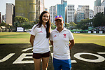 Captain Mariko Hill of Hong Kong Women's team and Captain Ang, Eddy of The Dragons Team pose for a photo together during Day 1 of Hong Kong Cricket World Sixes 2017 Group A match between Marylebone Cricket Club vs Pakistan at Kowloon Cricket Club on 28 October 2017, in Hong Kong, China. Photo by Yu Chun Christopher Wong / Power Sport Images