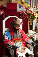 Quetzaltenango, Guatemala, March 2012. Zunil village possesses active worship of San Simón (also known as Maximón), a life-sized mannequin representing a Maya god, sitting in a wooden throne, which is moved to a different house every year, and many people visit and leave gifts at his shrine. Quetzaltenango, also known as Xela, its mayan name, is the base to explore the surrounding traditional maya villages and the Santiaguito volcano. Guatemala is a great country to experiencce the Mayan lifestyle and see the ruins of ancient cultures. Photo by Frits Meyst/Adventure4ever.com