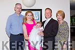 Little Grace Hobbins Killorglin celebrated her christening with her parents Tom and Finola and her god parents Kevin Ryan and Margaret Hobbins in the Castlerosse Hotel on Saturday