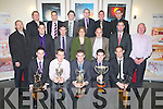 CHAMPIONS: Members of the victorious Ballyduff GAA team with their cups and managers at the Ballyduff Victory Social on Saturday night in Ballyroe Heights Hotel Tralee.