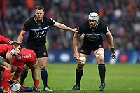 Chris Cook and Dave Attwood of Bath Rugby look on. Heineken Champions Cup match, between Stade Toulousain and Bath Rugby on January 20, 2019 at the Stade Ernest Wallon in Toulouse, France. Photo by: Patrick Khachfe / Onside Images
