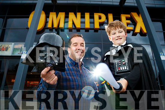 "Graham Kelliher Banna with his son Kai booking their tickets for the new Star Wars Movie ""The Last Jedi"" which opens in December."