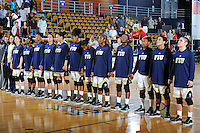 25 November 2011:  FIU's team lines up on the court prior to the game.  The University of Maryland Terrapins defeated the FIU Golden Panthers, 84-52, at the U.S. Century Bank Arena in Miami, Florida.