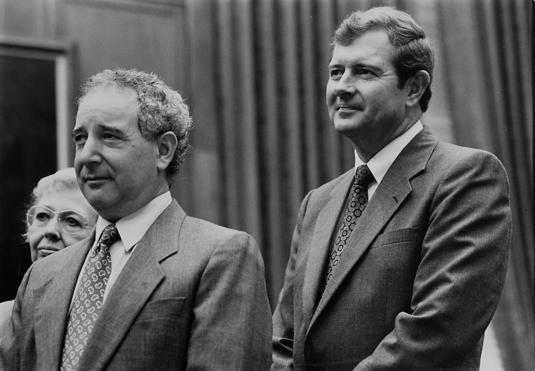 Michael Tucker, Rep. George Darden, D-Ga., at News Conference on June 24, 1991. (Photo by Laura Patterson/CQ Roll Call)