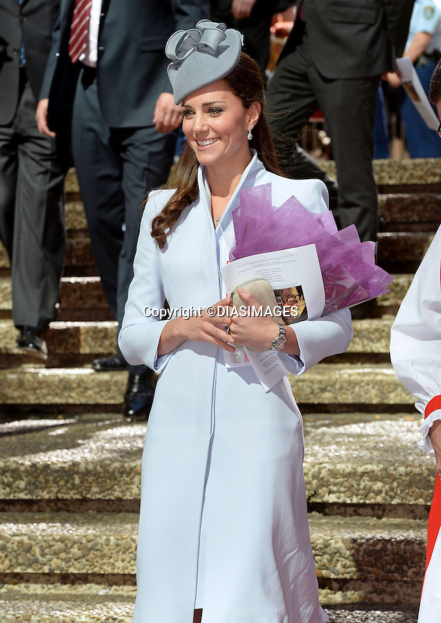 NO UK USE UNTIL 18th May 2014 (28Days)<br /> <br /> 20.04.2014;Sydney: KATE AND PRINCE WILLIAM<br /> attend Easter Service at St. Andrew's Cathedral in Sydney, Australia<br /> The Duchess wore an Alexander McQueen Coat topped off with a hat by Jane Taylor.<br /> Mandatory Photo Credit: &copy;Francis Dias/DIASIMAGES<br /> <br /> **ALL FEES PAYABLE TO: &quot;NEWSPIX INTERNATIONAL&quot;**<br /> <br /> PHOTO CREDIT MANDATORY!!: NEWSPIX INTERNATIONAL(Failure to credit will incur a surcharge of 100% of reproduction fees)<br /> <br /> IMMEDIATE CONFIRMATION OF USAGE REQUIRED:<br /> Newspix International, 31 Chinnery Hill, Bishop's Stortford, ENGLAND CM23 3PS<br /> Tel:+441279 324672  ; Fax: +441279656877<br /> Mobile:  0777568 1153<br /> e-mail: info@newspixinternational.co.uk