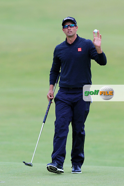 Adam Scott (AUS) finishes on the 18th hole during Sunday's Round 3 of the 144th Open Championship, St Andrews Old Course, St Andrews, Fife, Scotland. 19/07/2015.<br /> Picture Eoin Clarke, www.golffile.ie