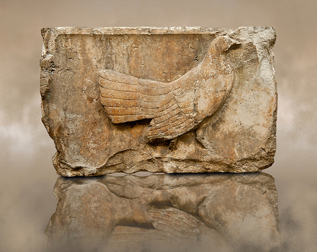 """Wild Foul freeze from the east side of Tomb of Kybernis also known as the """"Harpy Tomb""""  (480 B.C). Kybernis was a Lycian ruler of Xanthos who led the Lycian ships as part of the Persian invasion of Greece in 480 B.C. The Freeze comes from a nine meter high pillar tomb from Xanthos, UNESCO World Heritage site, south west Turkey. A British Museum exhibit B299 - B306, excavated by Charles Fellows in 1844."""