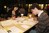 The University of Chicago&rsquo;s Chapter of Amnesty International held a letter writing event Friday evening. The purpose of the event was to raise awareness for various human rights causes.<br /> <br /> 9617 &ndash; Vice President of the University of Chicago Amnesty International Chapter, Elizabeth Huh and Rurik Baumrin write letters of protest supporting various human rights causes.