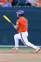 First baseman Andrew Cox (6) of the Clemson Tigers bats in a game against the Wofford College Terriers on Tuesday, May 5, 2015, at Russell C. King Field in Spartanburg, South Carolina. Wofford won, 17-9. (Tom Priddy/Four Seam Images)