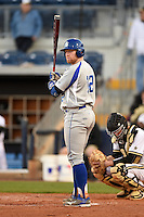 Indiana State Sycamores catcher Kaden Moore (12) at bat during a game against the Vanderbilt Commodores on February 20, 2015 at Charlotte Sports Park in Port Charlotte, Florida.  Vanderbilt defeated Indiana State 3-2.  (Mike Janes/Four Seam Images)
